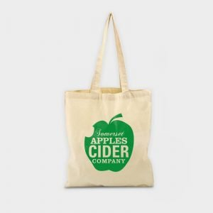 eco-friendly promotional products image of a tote bag with green logo