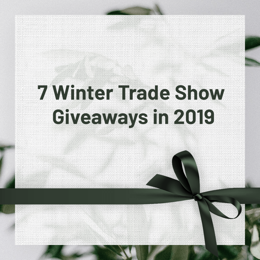 winter trade show giveaways wrapped with green ruban
