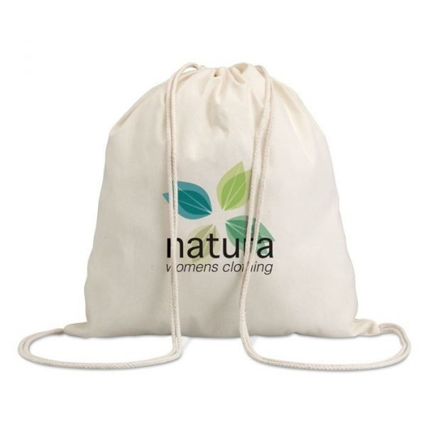 branded cotton bag with natura logo printed in the front