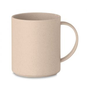 beige bamboo branded mug in white background