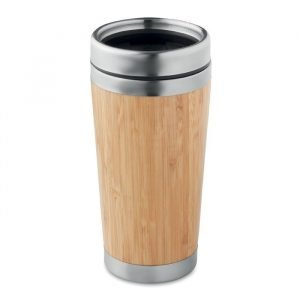 promotional bamboo flask with pp lid and steel base