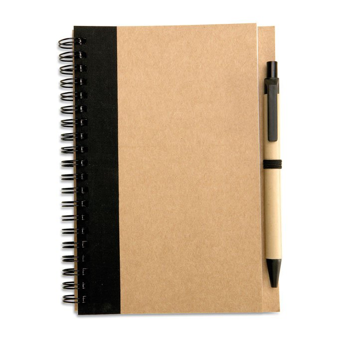 eco-friendly recycled notebook with logo and sustainable pen