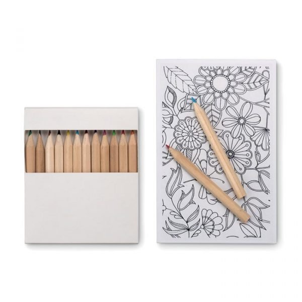 branded drawing set with card and pencils