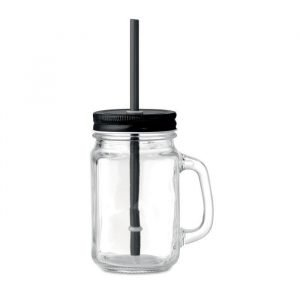 glass mason jar with lid and PP straw