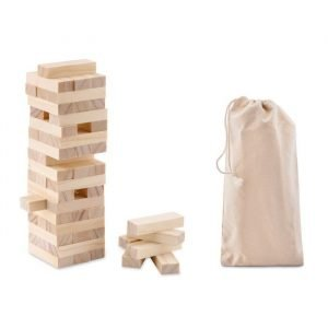 jenga tower game with cotton carrying pouch