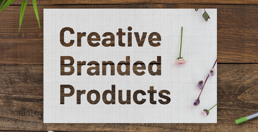 creative branded products image with wood background