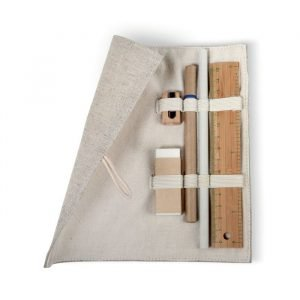 eco-friendly stationary set with 6 pieces of office equipment