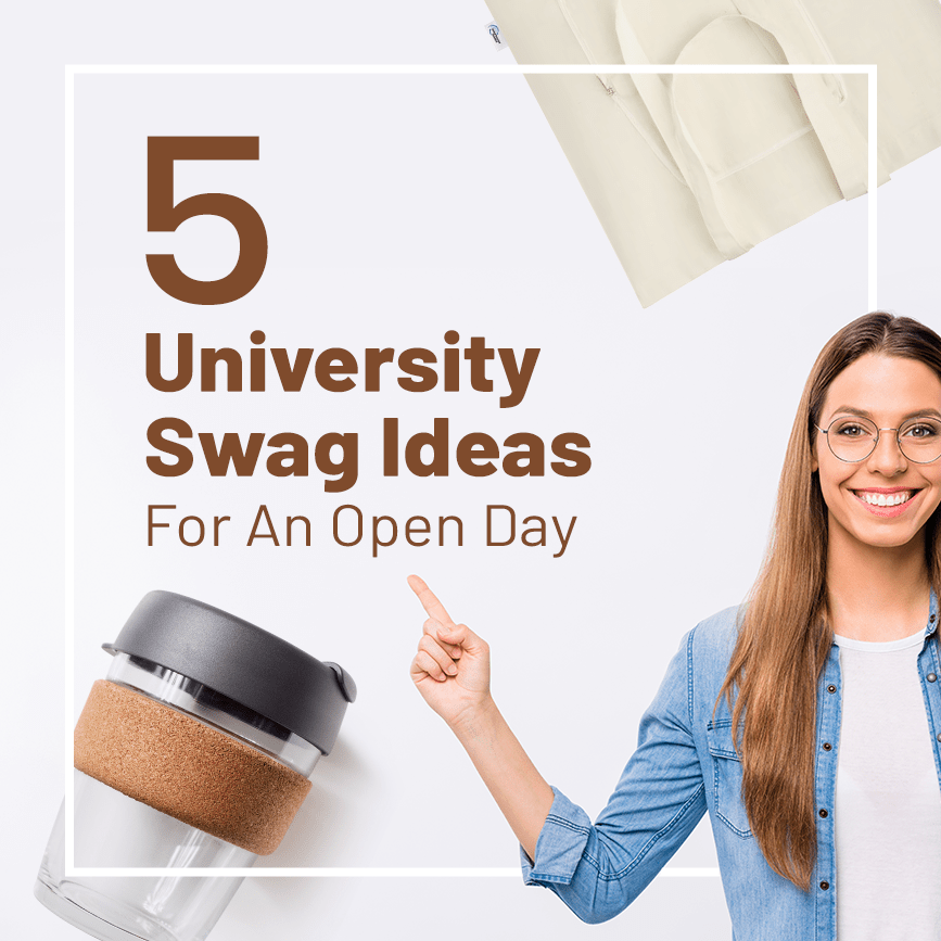 young student with 5 university swag ideas written on the side