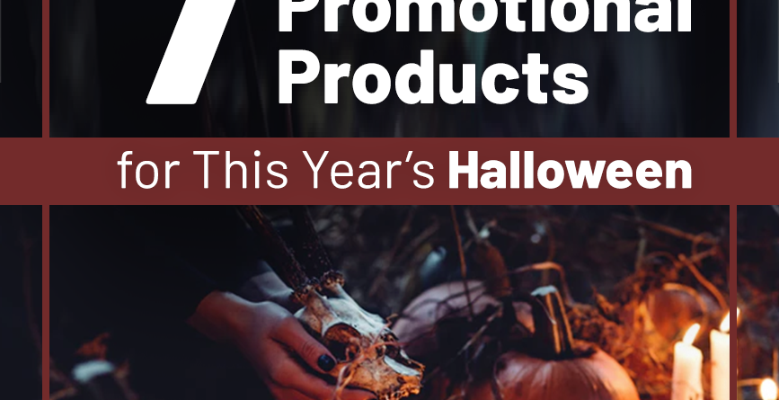 promotional items with a halloween theme in a dark setting