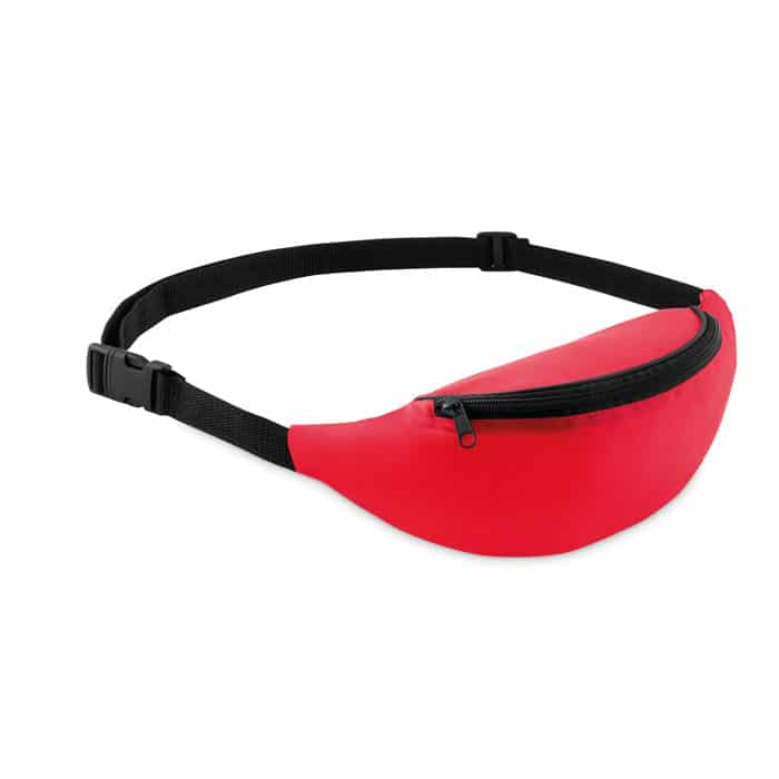 red fanny pack with one zippered front pocket