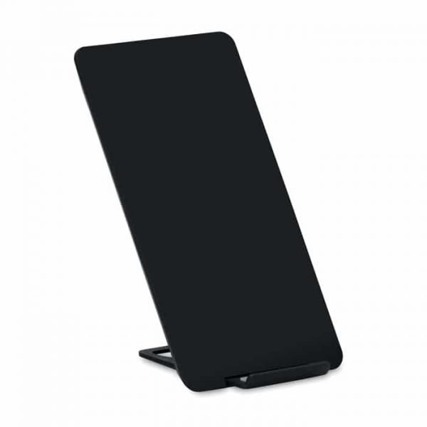 black wireless charger stand with white background