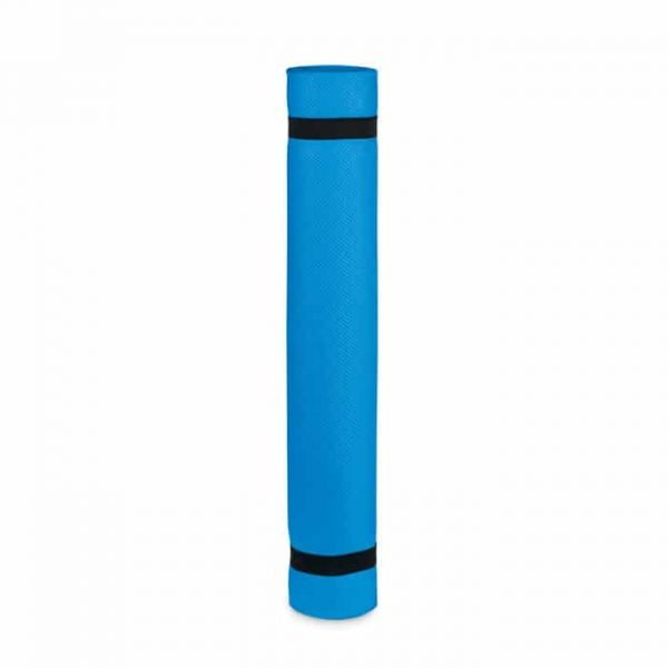 blue rolled yoga mat