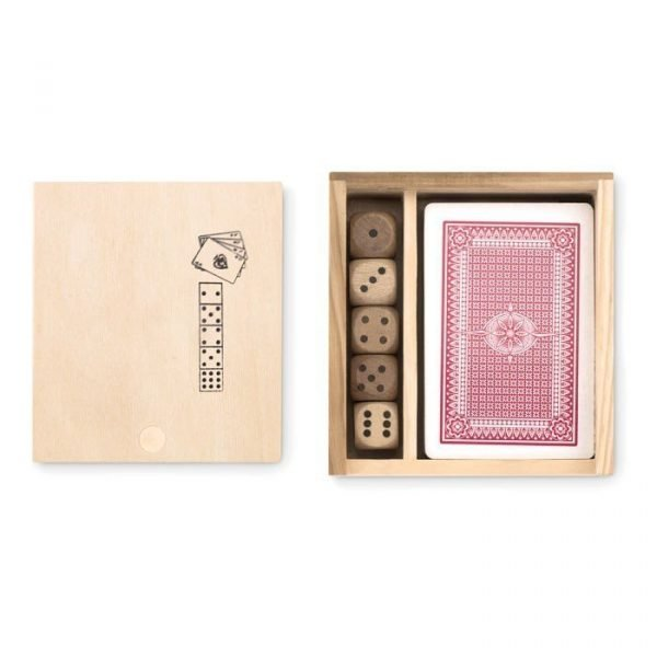 wooden box with logo and set of red cards and dice inside