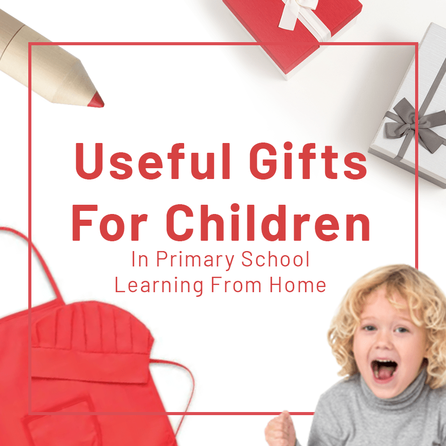 image with child, red kitchen apron and useful gifts for children written in the center